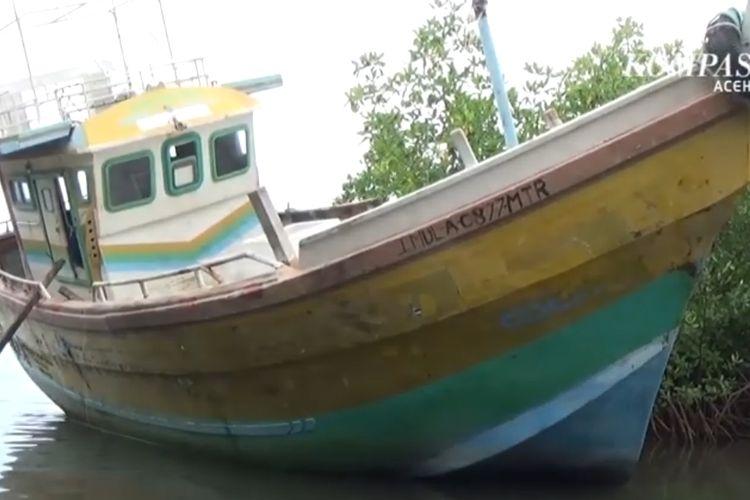 Tangkapan layar nelayan temukan kapal misterius di Aceh (Kompas TV)