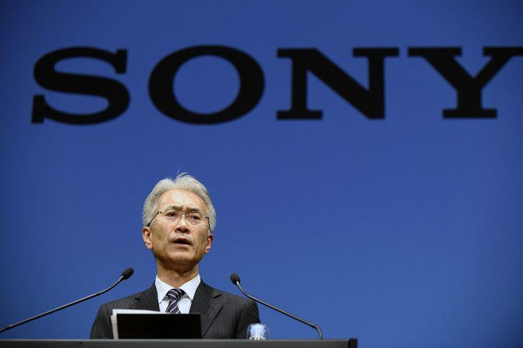 Kenichiro Yoshida, Chief Executive Officer of Sony Corp., sedang memberikan pidato di Tokyo, Jepang,