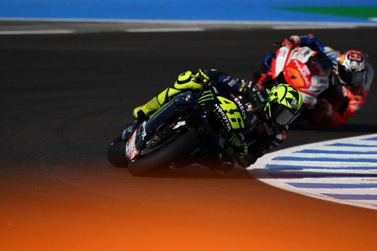 Valentino Rossi saat latihan bebas GP Spanyol di Sirkuit Jerez, 3 Mei 2019.