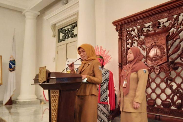 Konpers Kepala Bidang Sumber Daya KesehatanDinas Kesehatan DKI Jakarta Ani Ruspitawati, di Balairung, Balai Kota, Jakarta Pusat, Senin (9/3/2020).