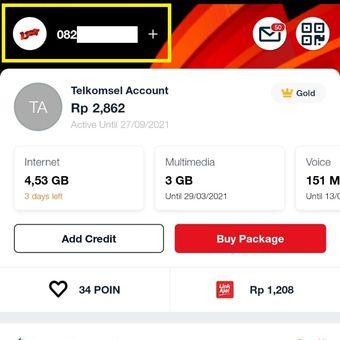Tangkapan layar menu beranda aplikasi MyTelkomsel untuk menampilkan nomor Telkomsel yang digunakan pengguna.
