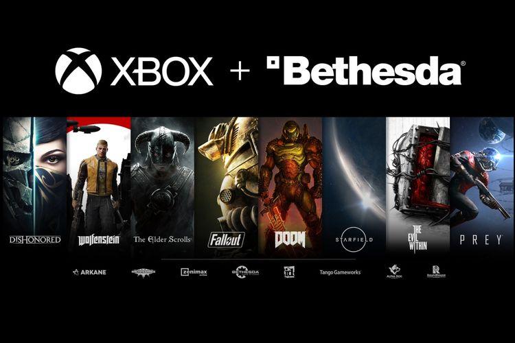 Ilustrasi Microsoft Xbox yang mengakuisisi perusahaan game Bethesda.