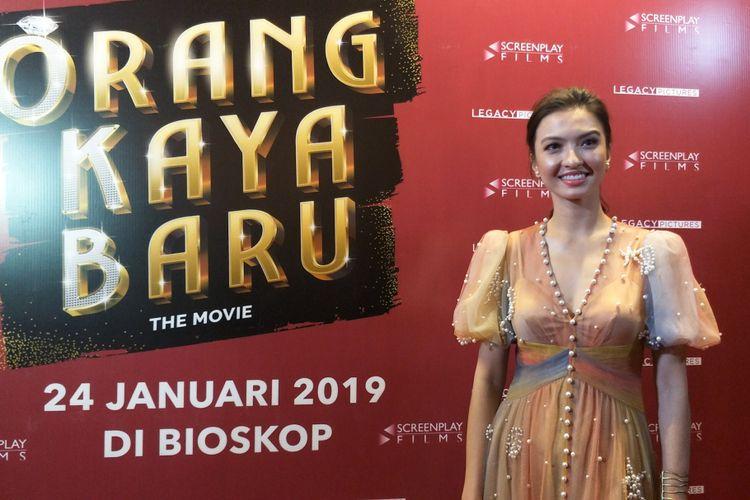 Artis peran Raline Shah saat ditemui di gala premiere film Orang Kaya Baru di Plaza Senayan, Jakarta Pusat, Senin (21/1/2019).