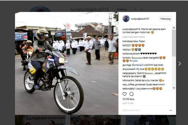 Menikmati pesona alam Lombok dengan motor trail. demikian keterangan yang menyertai foto yang diunggah Menteri Kelautan dan Perikanan Susi Pudjiastuti di akun Instagram miliknya, @susipudjiastuti115.