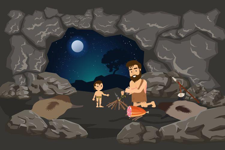 Ilustrasi manusia purba membuat makanan