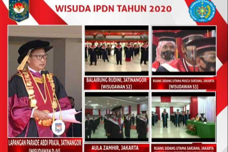 Mendagri Tito Karnavian mewisuda ribuan praja IPDN di kampus Jatinangor, Sumedang, Jawa Barat, Selasa (28/7/2020). Screenshoot YouTube Aam Aminullah/KOMPAS.com