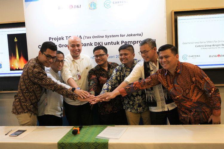 Direksi Bank DKI saat meluncurkan TOSKA sistem pembayaran pajak bernama TOSKA (Tax Online System of Jakarta), Jumat (14/2/2020)