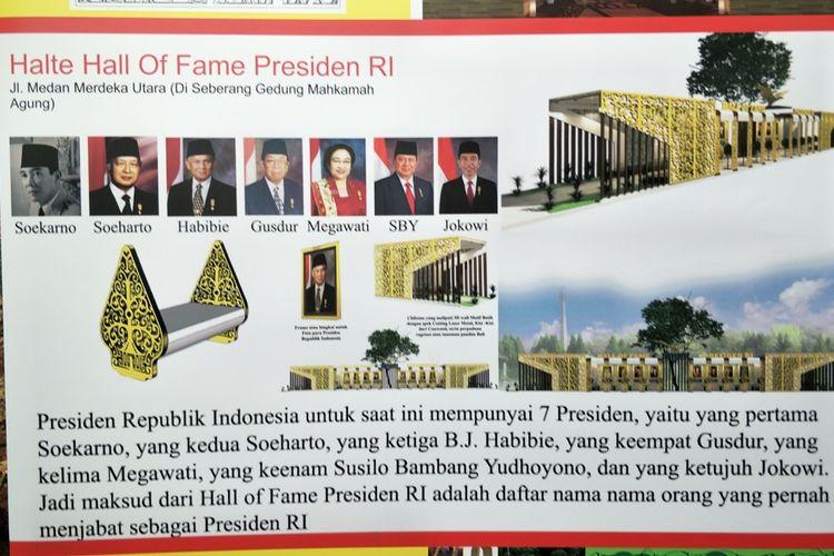 Desain halte Hall of Fame Presiden di Jalan Medan Merdeka Utara, Jakarta Pusat. Foto diambil Selasa (27/8/2019).