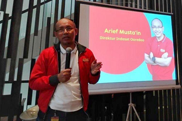 Arief Mustain, Direktur Indosat Ooredoo saat memaparkan transformasi bisnis digital Indosat dalam acara Kumpul Media di Jakarta Pusat, Rabu (14/11/2018).