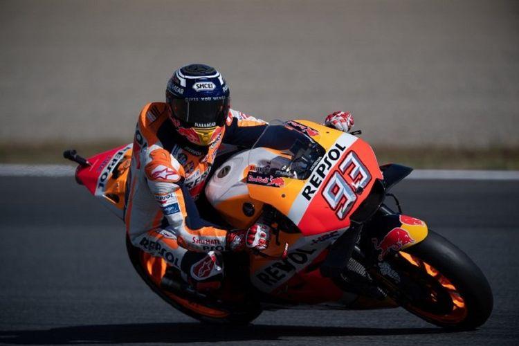 Marc Marquez menjalani sesi latihan ketiga di Motegi pada GP Jepang, 20 Oktober 2018. Dia memastikan diri menjadi juara dunia MotoGP 2018 seusai menjalani seri tersebut.