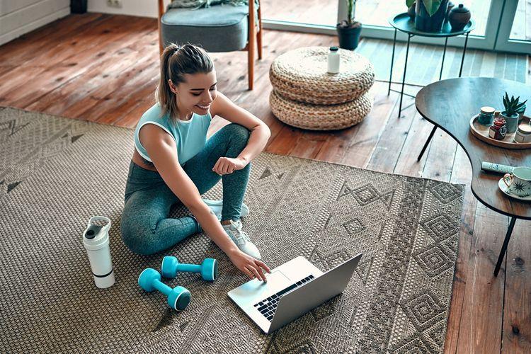 Ilustrasi berolahraga di rumah, ilustrasi yoga