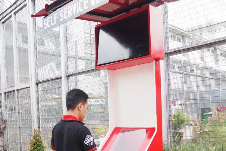 Box layanan self Service di Rutan Depok, Selasa (12/3/2019).