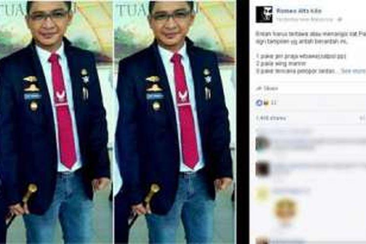 Sebuah foto dengan wajah Wakil Wali Kota Palu Sigit Purnomo atau yang lebih dikenal dengan nama Pasha Ungu beredar di media sosial Facebook lewat akun Romeo Alfa Kilo.