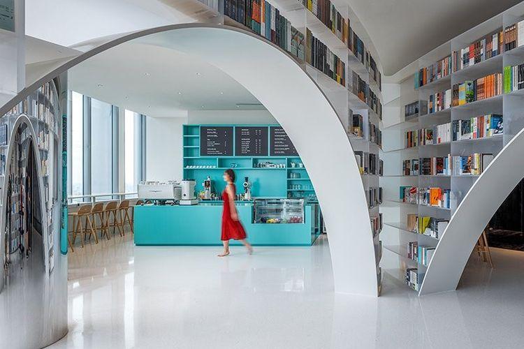 Laboratorium Wutopia desain toko buku Duyon di Menara Shanghai, Cina,