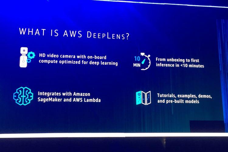 Rincian kemampuan kamera video AWS DeepLens, kamera yang disiapkan bagi para developer untuk berlatih membuat aplikasi berbasis machine learning menggunakan pengenalan kamera. Pengumuman keberadaan AWS DeepLens dilakukan di panggung utama AWS re: Invent 2017 di Las Vegas, Amerika Serikat, Rabu (29/11/2017) waktu setempat.