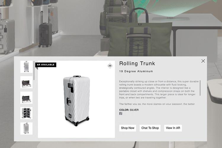 Toko virtual Tumi menghadirkan display yang interaktif.