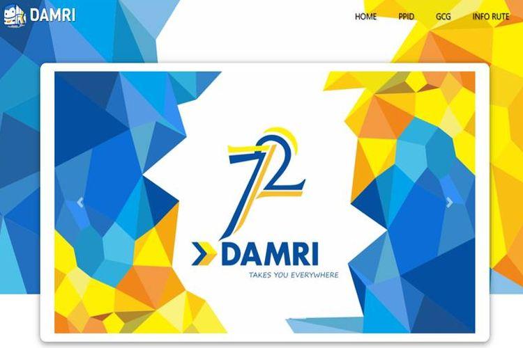 Tampilan halaman depan situs Damri