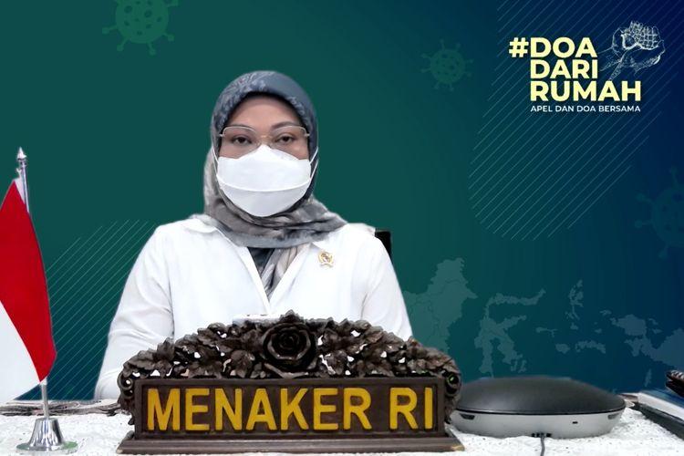 Menteri Ketenagakerjaan (Menaker) Ida Fauziyah dalam apel dan doa bersama yang digelar secara virtual, Senin (12/7/2021).