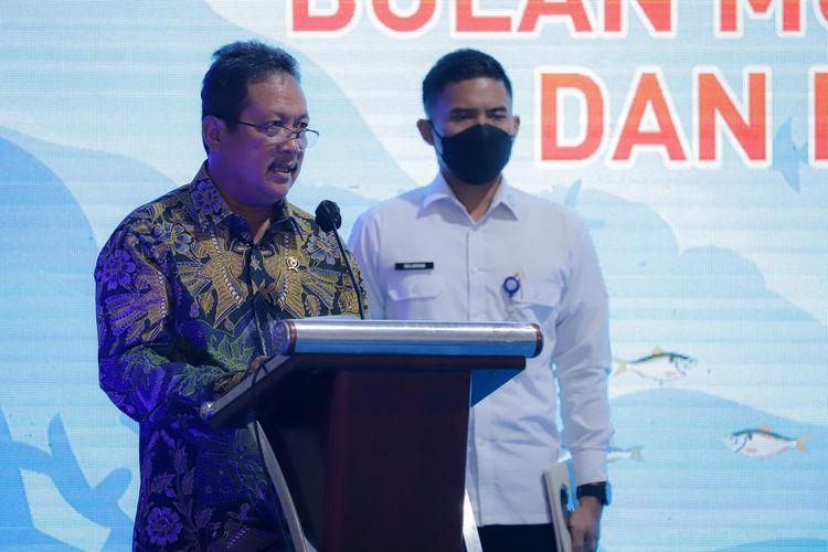 Menteri Kelautan dan Perikanan Sakti Wahyu Trenggono saat pelepasan produk perikanan dalam kegiatan bertajuk Indonesia Satu Ekspor di Pelabuhan Tanjung Priok, Jakarta, Rabu (14/4/2021).