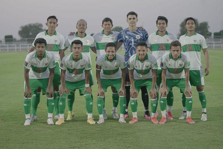 Para pemain Timnas Indonesia yang menjadi starter pada laga persahabatan kontra Oman, Sabtu (29/5/2021).
