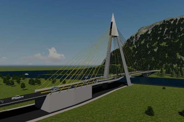Jembatan Tano Ponggol, dibangun dengan metode cable stayed.