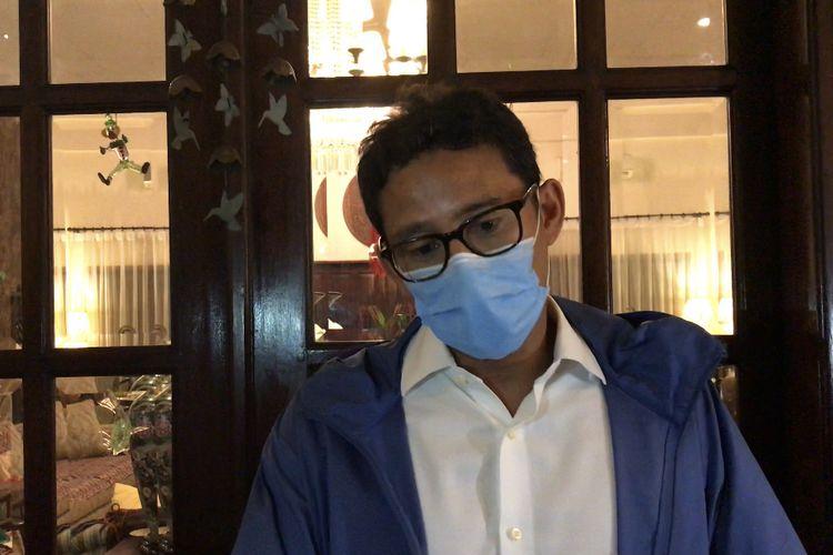 Sandiaga Uno saat ditemui di rumah ibunda, Mien Uno di kawasan Kebayoran Baru, Jakarta Selatan pada Selasa (22/12/2020) malam.