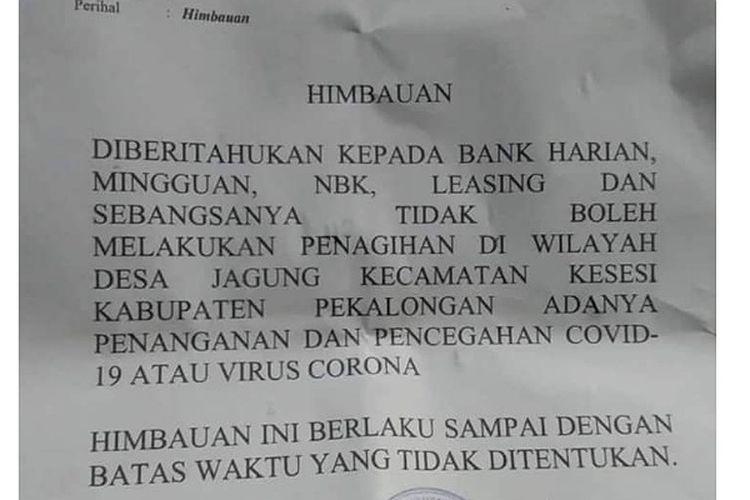 Surat pemberitahuan dari Desa Jagung, Kesesi Kabupaten Pekalongan Jawa Tengah terkait bank tongol.