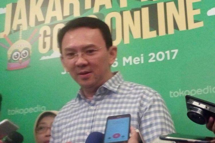 Gubernur DKI Jakarta Basuki Ahok Tjahaja Purnama saat ditemui di Balai Kota, Sabtu (6/5/2017).