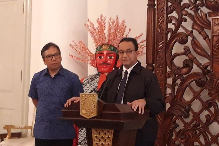 Gubernur DKI Jakarta Anies Baswedan di Balairung, Balai Kota, Jakarta Pusat, Senin (5/8/2019)