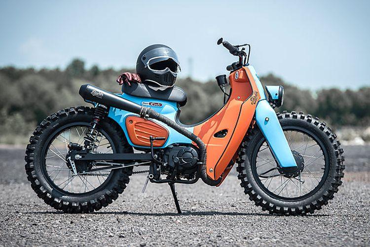 Motor custom Honda Super Cub bergaya scrambler garapan K-Speed