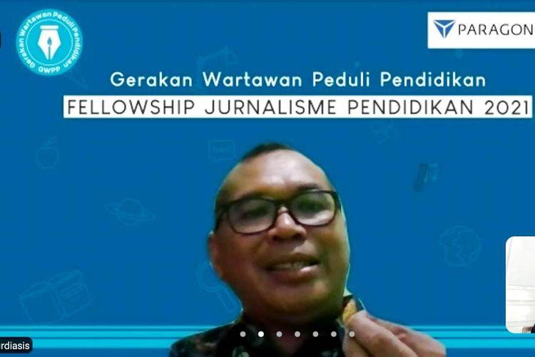 Frans Surdiasis menyampaikan materi pada Fellowship Jurnalisme Pendidikan (FJP) 2021 gelaran Gerakan Wartawan Peduli Pendidikan (GWPP) secara daring, Rabu (2/6/2021).