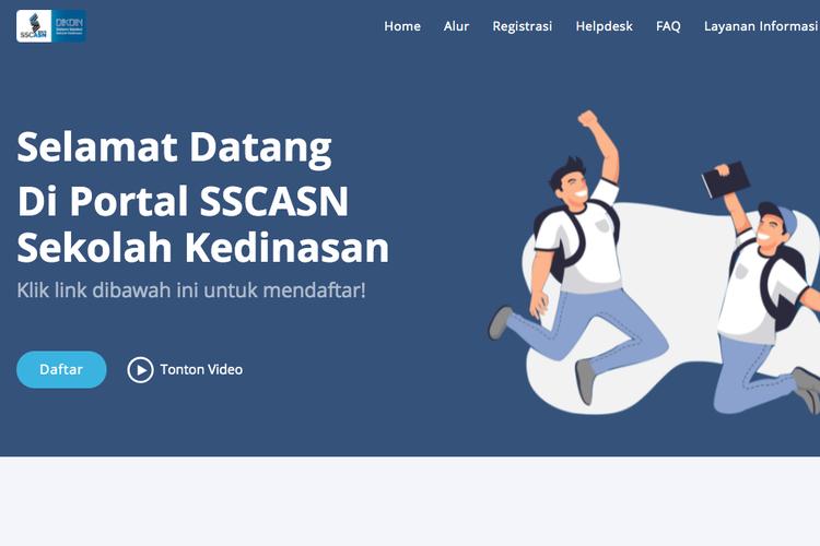 Portal pendaftaran sekolah kedinasan di dikdin.bkn.go.id.
