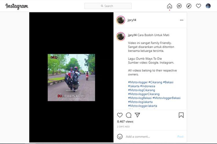 Video di Instagram yang merangkum kebiasaan buruk pengendara sepeda motor