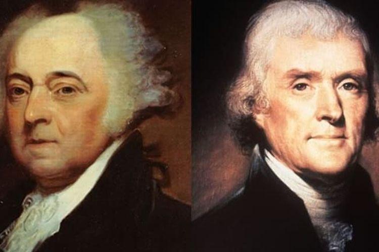 John Adams (kiri) adalah presiden ke-2 Amerika Serikat, dan Thomas Jefferson (kanan) adalah presiden ke-3 AS. Mereka meninggal bersama di HUT Amerika ke-50 pada 4 Juli 1826.
