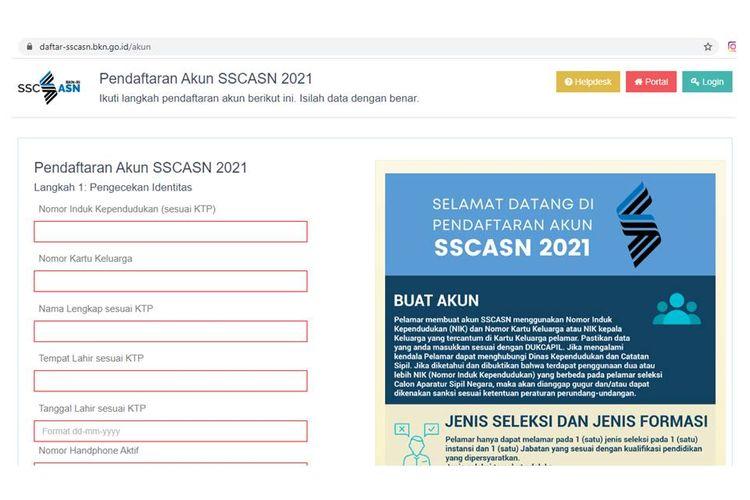Tangkapan layar website SSCASN, cara membuat akun SSCASN