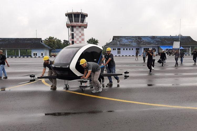 Frogs 282 Drone Taxi Pertama di Indonesia Uji Terbang di Lanud Gading, Playen, Gunungkidul Sabtu (7/3/2020)