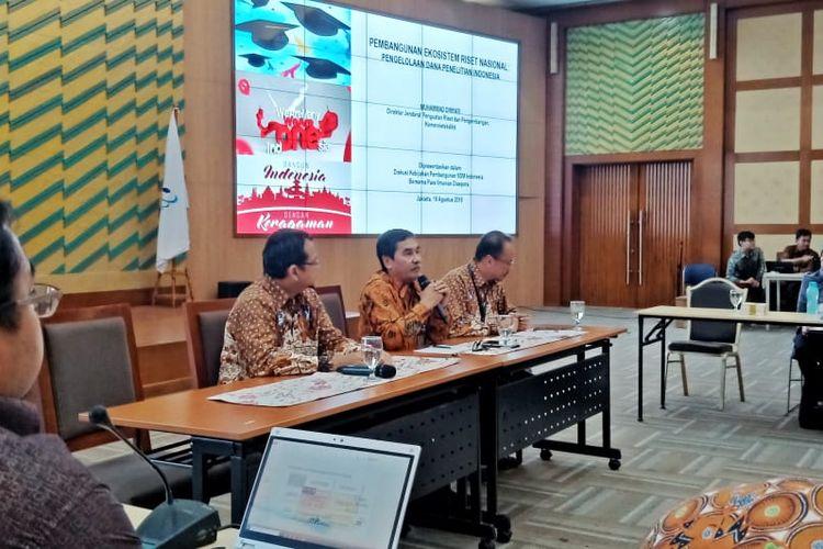 Diskusi Pembangunan Ekosistem Riset Nasional, Pengelola Dana Penelitian Indonesia yang digelar Kemenristekdikti bersama ilmuwan diaspora SCKD di Gedung Kemenristekdikti di Jakarta (19/8/2019).