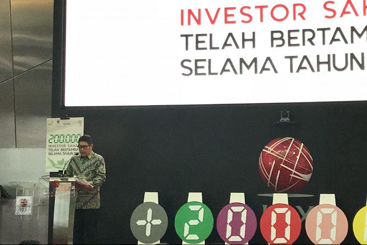 Direktur Utama Bursa Efek Indonesia (BEI) Inarno Djajadi di Main Hall BEI Jakarta, Kamis (22/11/2018)