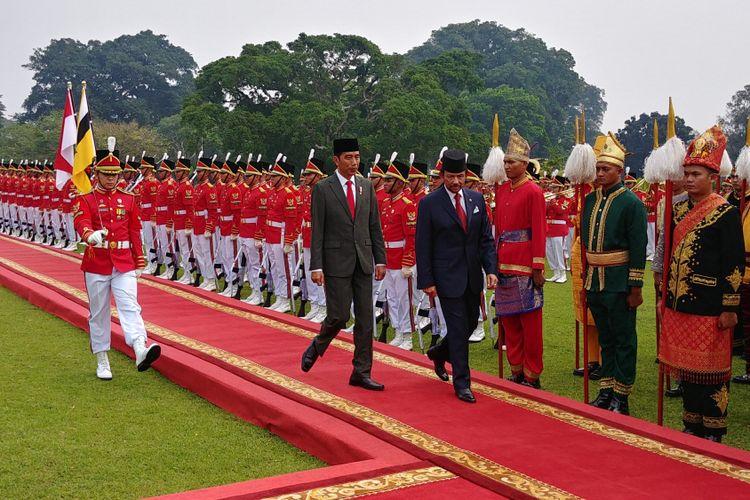 Presiden Joko Widodo menerima kunjungan  Sultan Brunei Darussalam H.M. Sultan Haji Hassanal Bolkiah di Istana Bogor, Kamis (3/5/2018).