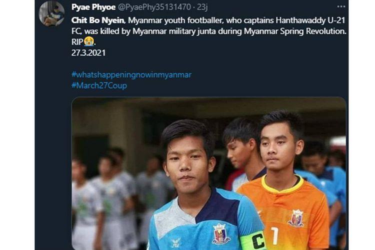 Chit Bo Nyein, kapten tim berusia 21 tahun dari klub Hantharwady United U-21.
