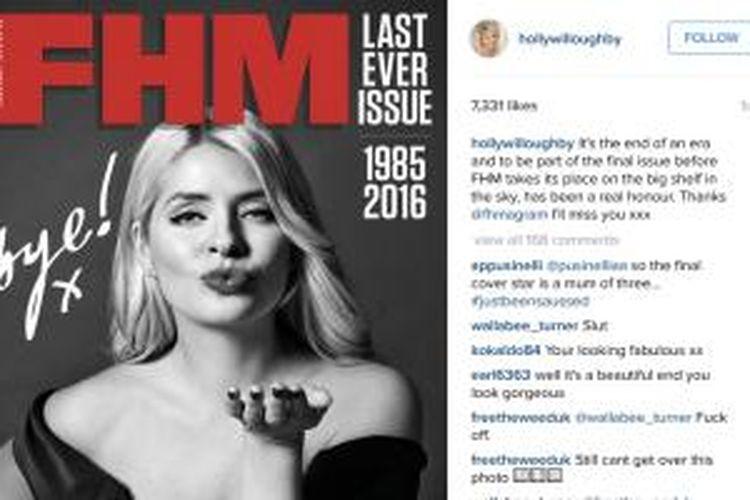 Akun Instagram milik Holly Willoughby menampilkan foto dirinya sebagai sampul depan majalah FHM terbitan Inggris.
