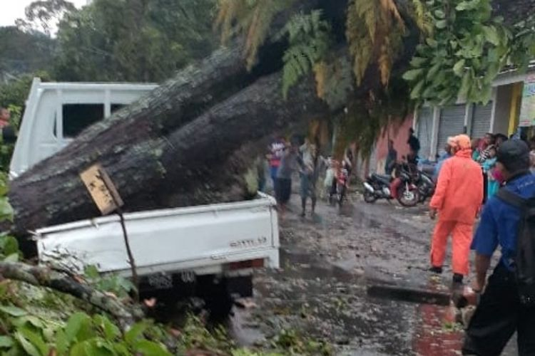 Sebatang pohon besar tumbang diterjang angin puting beliung menimpa mobil di Jalan Sukaraja-Gegerbitung, Desa Caringin, Gegerbitung, Sukabumi, Jawa Barat, Jumat (29/5/2020).