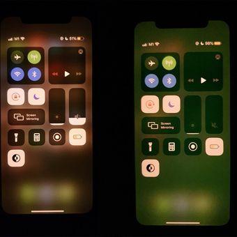 Layar perangkat seri iPhone 11 yang mengalami masalah warna kehijauan (kanan), dari seorang pembaca situs MacRumors.com.