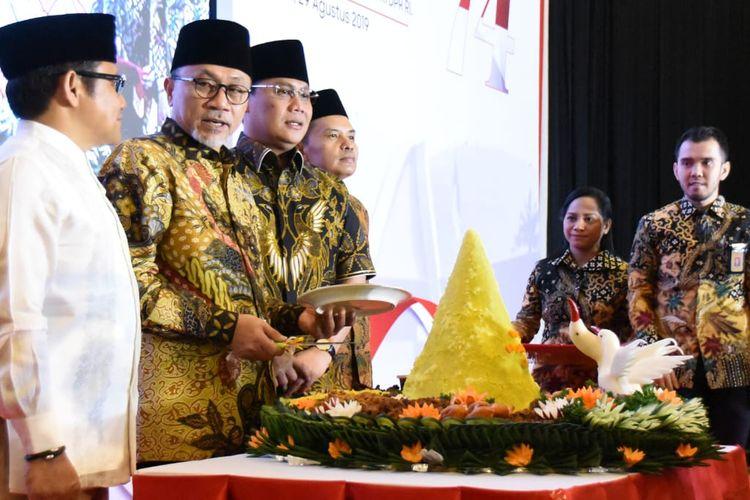Acara syukuran turut dihadiri Ketua MPR RI Zulkifli Hasan, Wakil Ketua MPR Muhaimin Iskandar dan Ahmad Basarah, dan Sekretaris Jenderal MPR Maruf Cahyono.