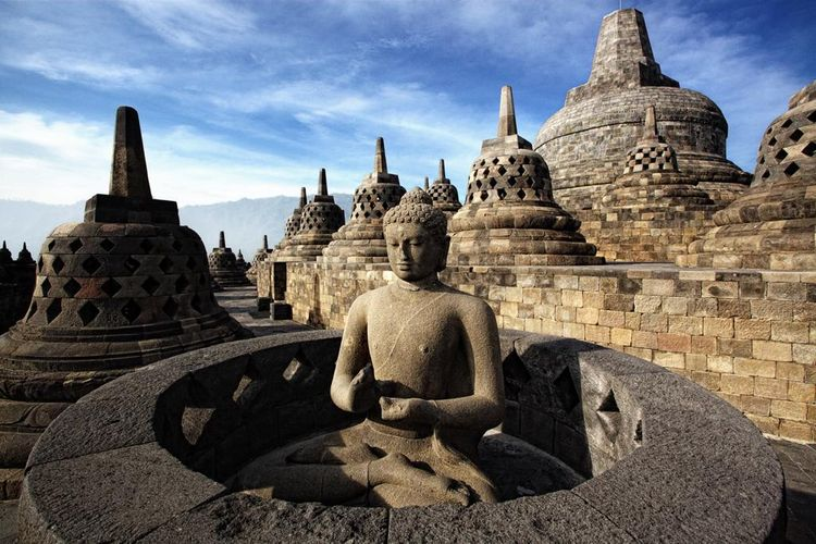 Ilustrasi Candi Borobudur di Magelang, Jawa Tengah