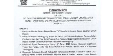 Lowongan pekerjaan di RSUD Temanggung 2021.