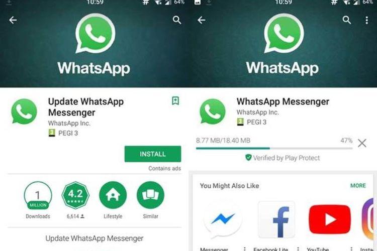 Perbedaan Whatsapp Palsu (kiri) dan Asli(kanan)