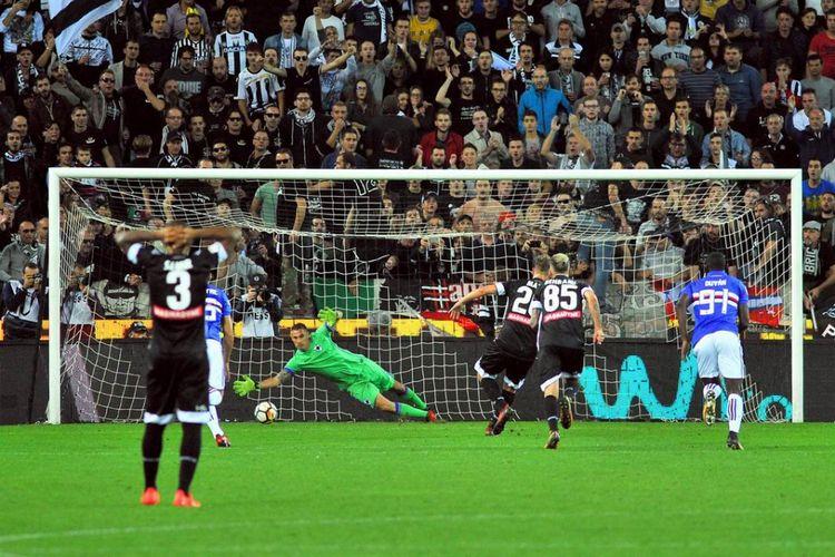 Laga Udinese versus Sampdoria, Sabtu (30/9/2017).