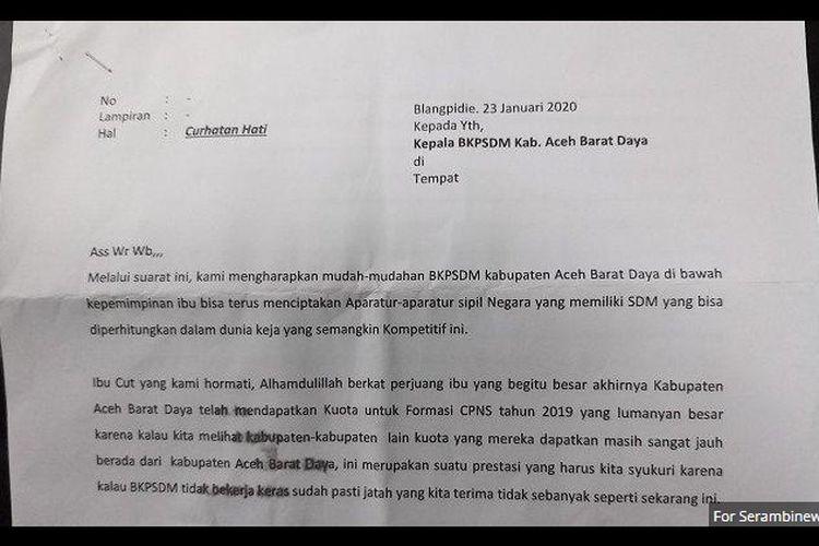 Surat atasnama Bunga tertanggal 23 Januari 2020 dikirimkan ke Kepala Badan Kepegawaian dan Sumber Daya Manusia (BKSDM) Aceh Barat Daya, Cut Hasnah itu diterima, 5 Januari 2020.