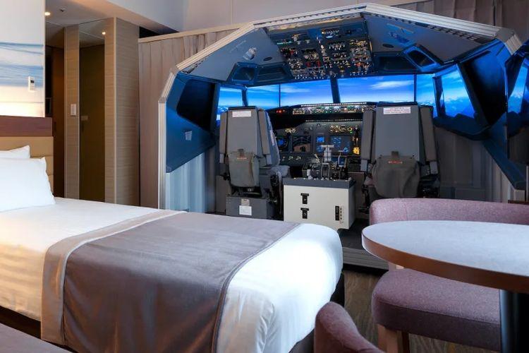 Salah satu kamar di The Haneda Excel Hotel Tokyu yang menyediakan fasilitas simulator pesawat B737.